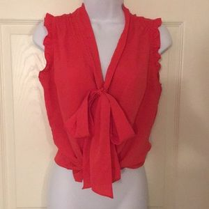 Beautiful pink red ruffle sleeve tie blouse